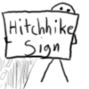 hitchhiking sign